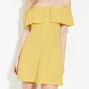 Forever 21 Off The Shoulder Yellow Mini Dress in S